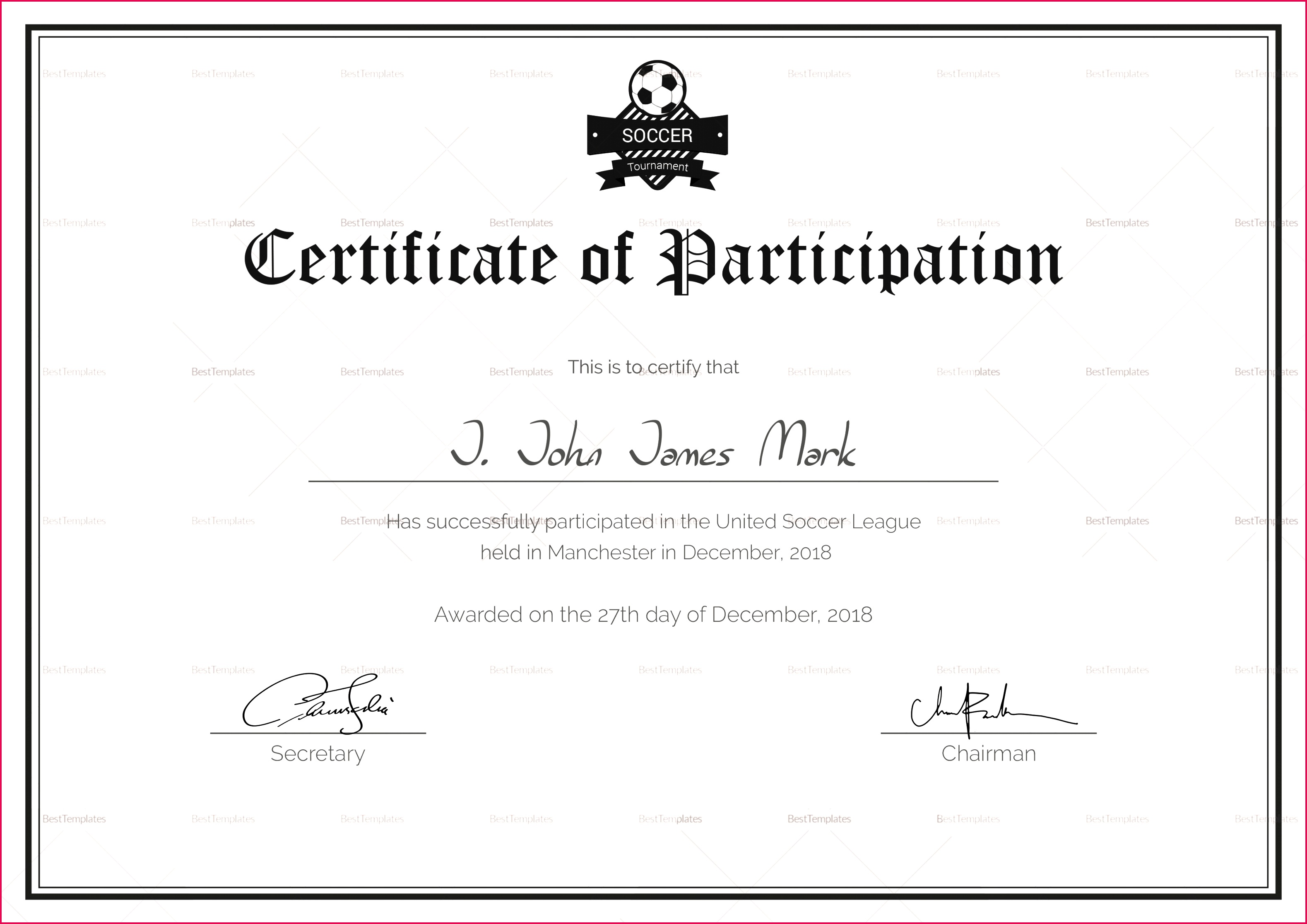 soccer participation certificate design template in psd word