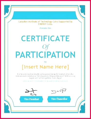 certificate of participation text example