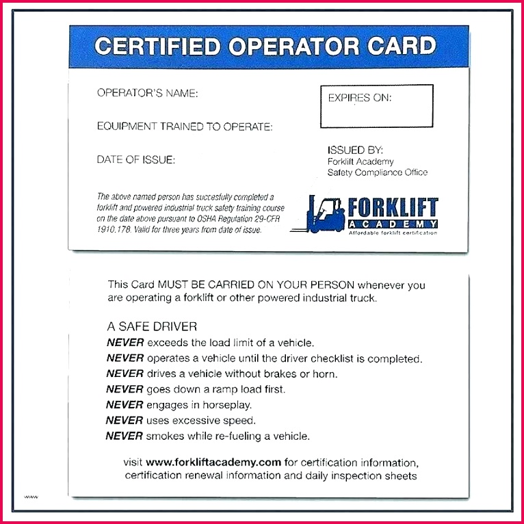 forklift operator certificate template invitation safety training certification card new templates operato