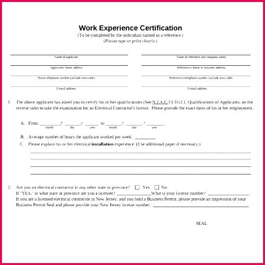 work experience certificate template 8 job templates free premium examples